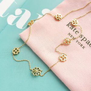 spade floral gold long scatter necklace + dust bag
